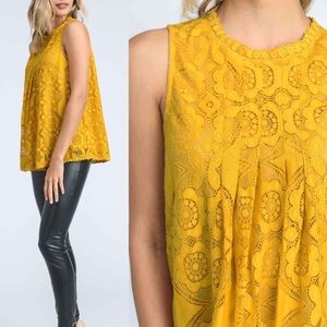 Bellanblue Tops - DEBBIE Lace Top - MUSTARD